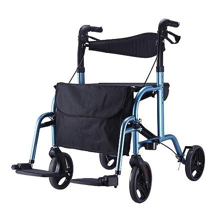 QIAOXC Ancianos, Discapacitados, 4 Ruedas, Fácil Silla De Ruedas, Muletas, Incapacitado