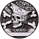 Printing Round Rug,Pirate,Pirate Cove Flag Year of 1650 Vintage Frame Crossbones Floral Swirls Hat Heart Decorative Mat Non-Slip Soft Entrance Mat Door Floor Rug Area Rug For Chair Living Room,Black W