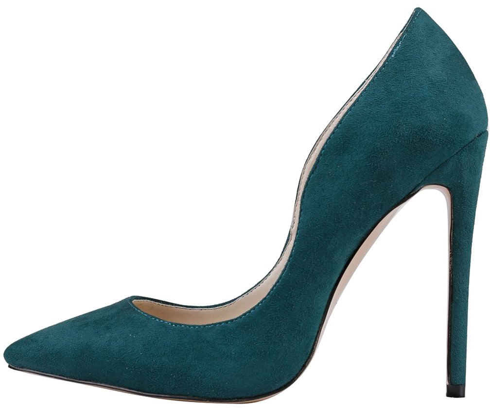 Calaier Mujer Caworry Tacón De Aguja 12CM Sintético Ponerse Zapatos de tacón 44.5|Turquesa