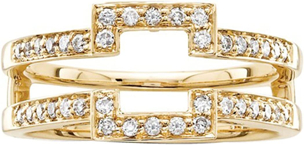 3//4 Ct Round /& Baguette Shape Simulated Diamond 14K Yellow Gold Plated Sterling Silver Wrap Enhancer Engagement Ring
