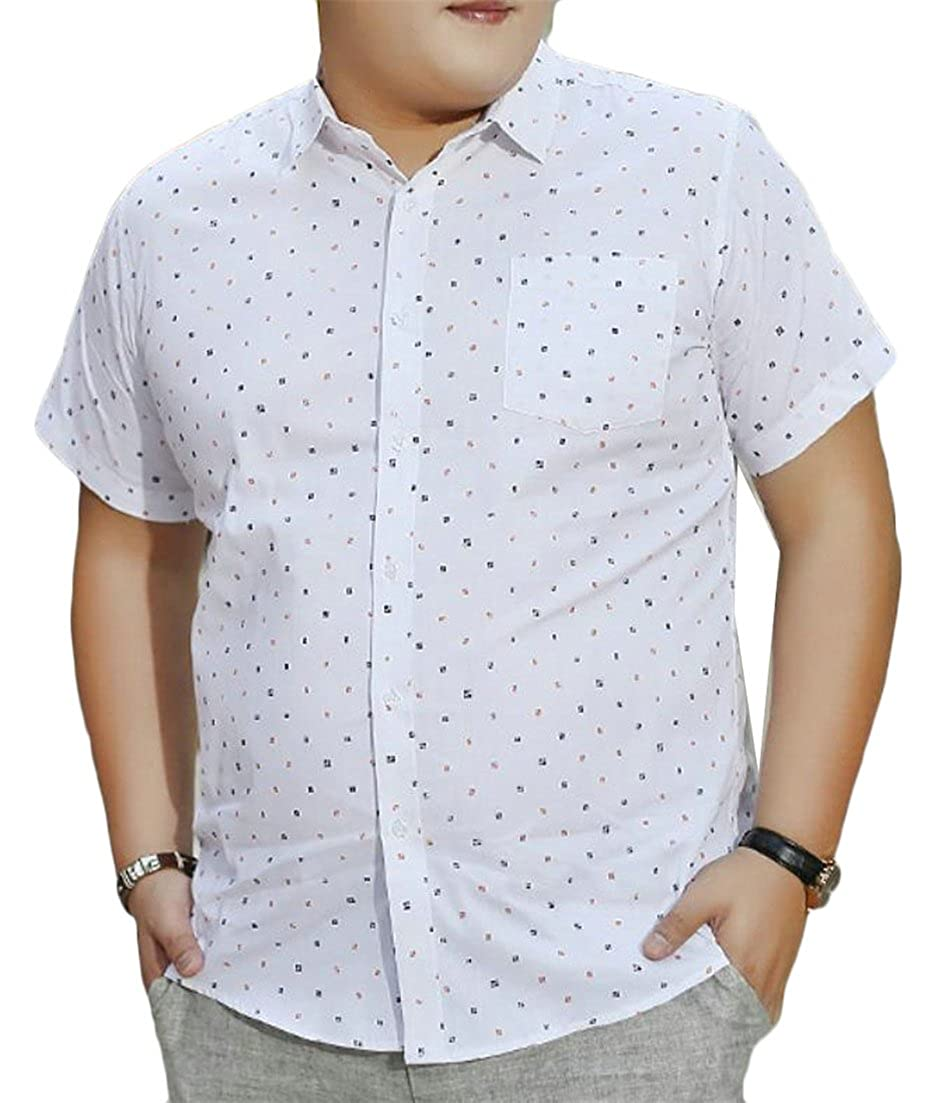 goldenharvest GH Men Classic Plus Size Summer Short Sleeve Print Button up Shirts
