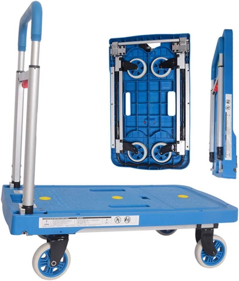 荷物カート-WAHOUM キャリーカート軽量台車荷物、旅行、ショッピング、オフィスでの使用のための折りたたみ式ハンドトラック360°回転ホイール、3色 (Color : Blue, Size : 68x41x92cm)