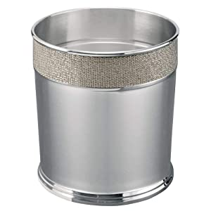 mDesign Decorative Round Small Trash Can Wastebasket, Garbage Container Bin for Bathrooms, Powder Rooms, Kitchens, Home Offices - Polished Stainless Steel with Woven Metallic Textured Accent