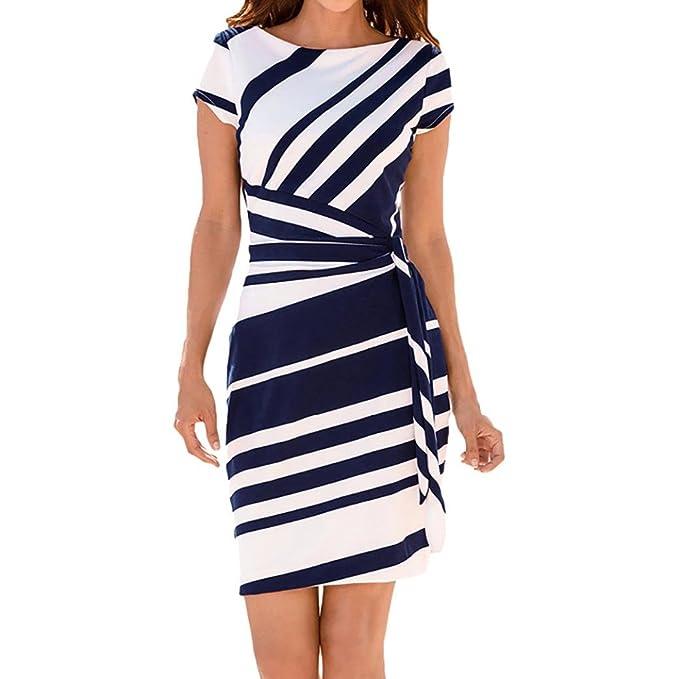 TUDUZ Damen Elegant Kleider Pencil Streifen Partykleid Beiläufige  Minikleider Cocktailkleid (Blau, S) 9b967d6e75