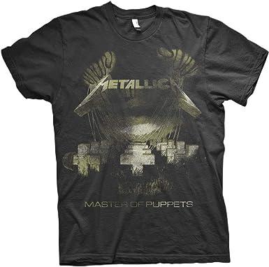 Metallica Master of Puppets Distressed_Men_bl_TS: L Camiseta, Negro (Black Black), Large para Hombre: Amazon.es: Ropa y accesorios