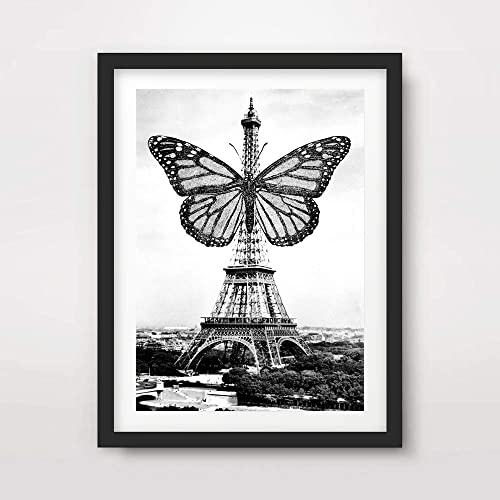 2dd87e42f PARIS EIFFEL TOWER BUTTERFLY BLACK AND WHITE QUIRKY UNUSUAL PHOTO ART PRINT  Poster French France Home Decor Wall Picture A4 A3 A2 (10 Size Options): ...