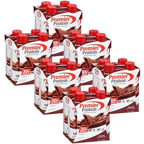 Premier Protein 30g Protein Shakes, Chocolate, 11 Fluid Ounces, 4 Count (Pack of 6)
