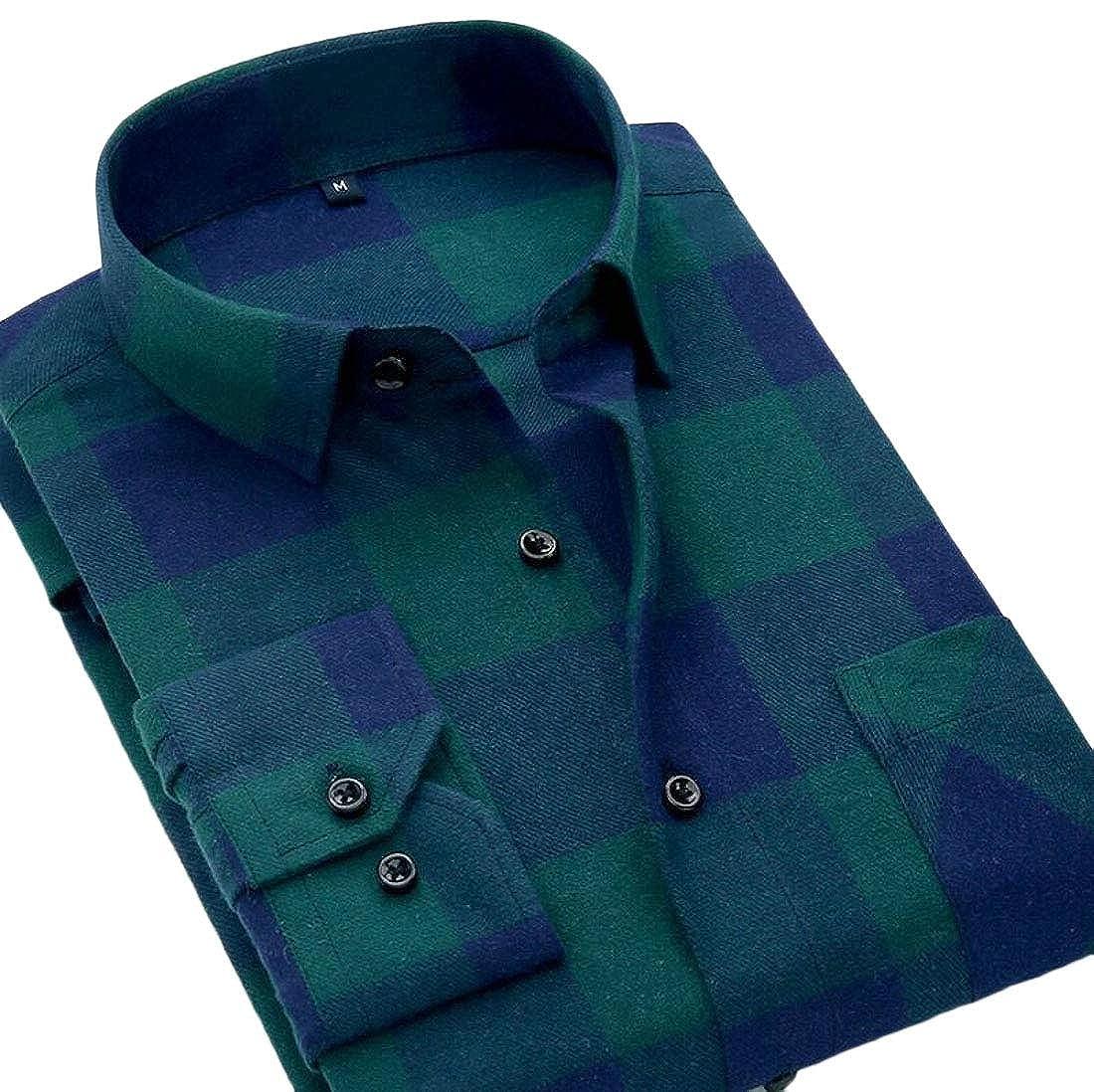 Generic Mens Checkered Button Down Cotton Long Sleeve Slim Casual Dress Shirt