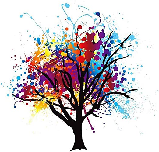 ABSTRACT COLOURFUL TREE SPLASH Poster Painting Illustration Canvas art Prints