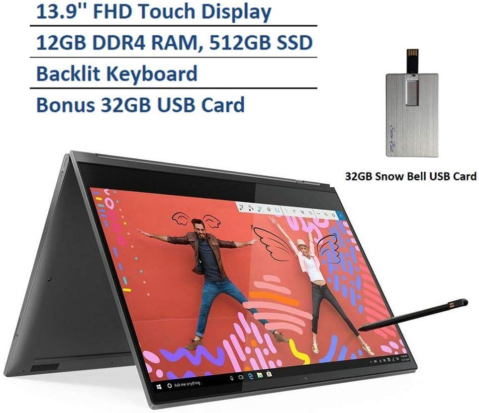 "2020 Lenovo Yoga C930 13.9"" FHD 2 in 1 Touchscreen Laptop, Intel i7-8550U Processor, 12GB RAM, 512GB PCIe SSD, Backlit Keyboard, Dolby Audio, Webcam, Active Pen, Fingerprint Reader, Windows 10 - Grey"