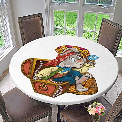 Mikihome Modern Simple Round Tablecloth Cartoon Hare Pirate Sits on a Chest with Treasures and considers Jewels Invitation Card Decoration Washable 47.5
