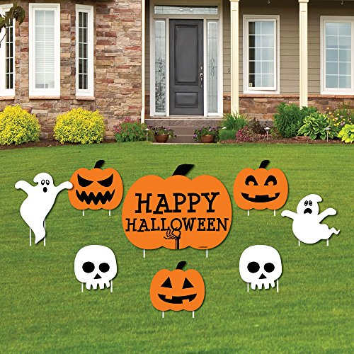 Trick or Treat - Yard Sign & Outdoor Lawn Decorations - Happy Halloween Party Yard Signs - Set of 8 -