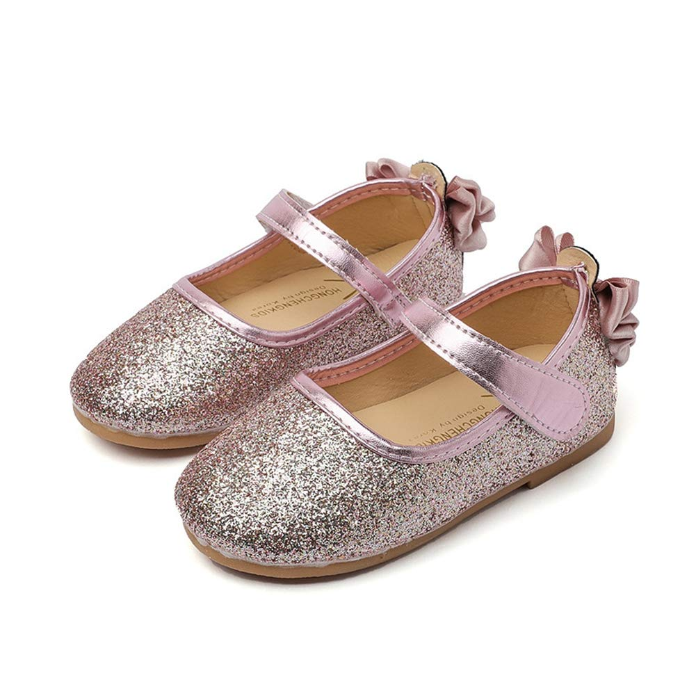 F-OXMY Girls Glitter Mary Jane Princess Shoes Cute Bowknot Lightweight Comfy Ballet Flat Shoes with Strap