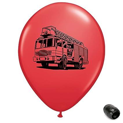 Fire truck latex balloon