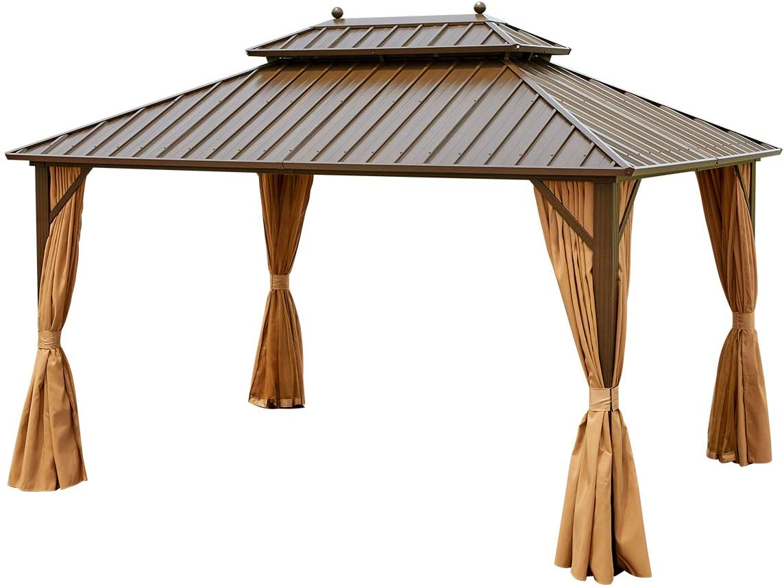 YOLENY 10 X 13 Hardtop Gazebo Galvanized Steel Outdoor Gazebo Canopy Double Vented Roof Pergolas Aluminum Frame with Netting and Curtains for Garden,Patio,Lawns,Parties