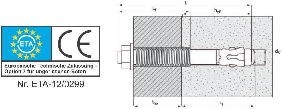 Bolzenanker M8 // 110 mm Keilanker Schwerlastd/übel verzinkt 10 St/ück ETA Zulassung