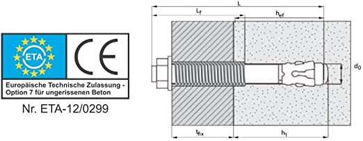 Bolzenanker verzinkt M8 x 115 mm mit ETA Zulassung 10 St/ück