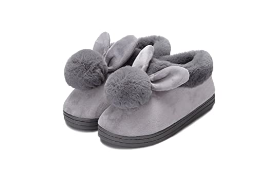 0fdfb50b73f743 YOWOO Soft Plush Warm Bedroom Indoor Non Slip Slippers for Women Cute Bunny  Wrap Heel Style