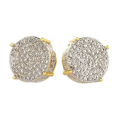 471d5c0a4 Amazon.com: NIV'S BLING - 18k Yellow Gold-plated Cubic Zirconia Round Stud  Earrings: Jewelry