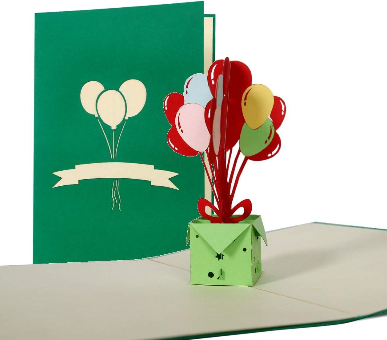Pop Up carte d'anniversaire avec ballons, idéal comme invitation ou glueckwunschkarte, Happy Birthday carte G15