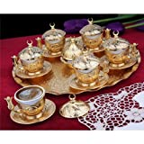 Traditional Turkish Ottoman Cupper Coffee Set for six