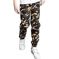 TiaoBug Pantalones Cargo Militar Niño Pantalones de chándal con cordón para niños Joggers Pantalones Camuflaje ajustados…