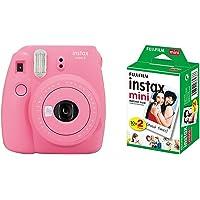 Fujifilm Instax Mini 9 Flamingo Fotocamera Istantanea, 62 x 46 mm, Rosa + Instax Mini Film Pellicola Istantanea per Fotocamere Instax Mini, Formato 46x62 mm, Confezione da 20 Foto