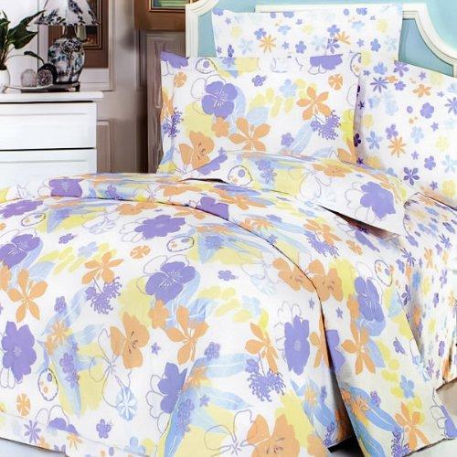 Blancho Bedding Purple Orange Flowers] Luxury 5PC Comfort...
