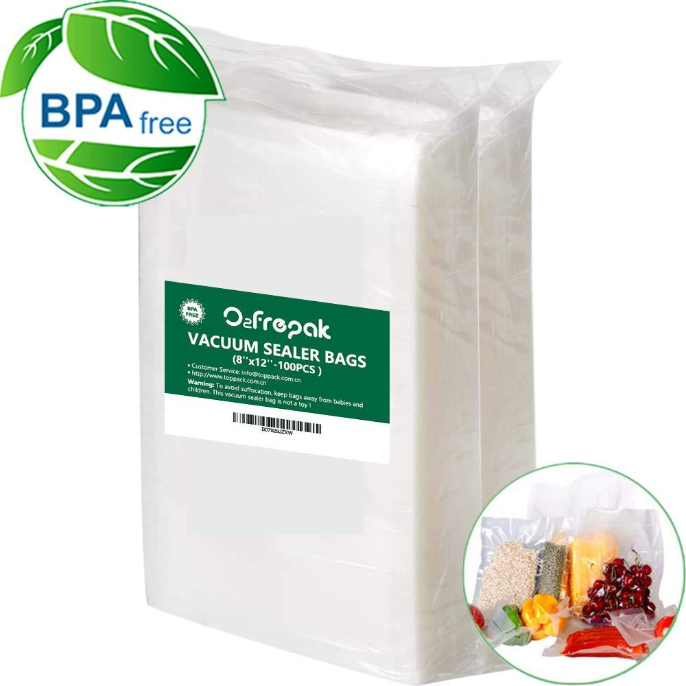 100 Quart 8'' x 12'' Vacuum Sealer Bags Size for Food Saver, Seal a Meal Type Vac Sealers, Sous Vide Vacuum Safe, BPA Free, Heavy Duty Commercial Grade, Pre-Cut Vacuum Sealer Storage Universal Design