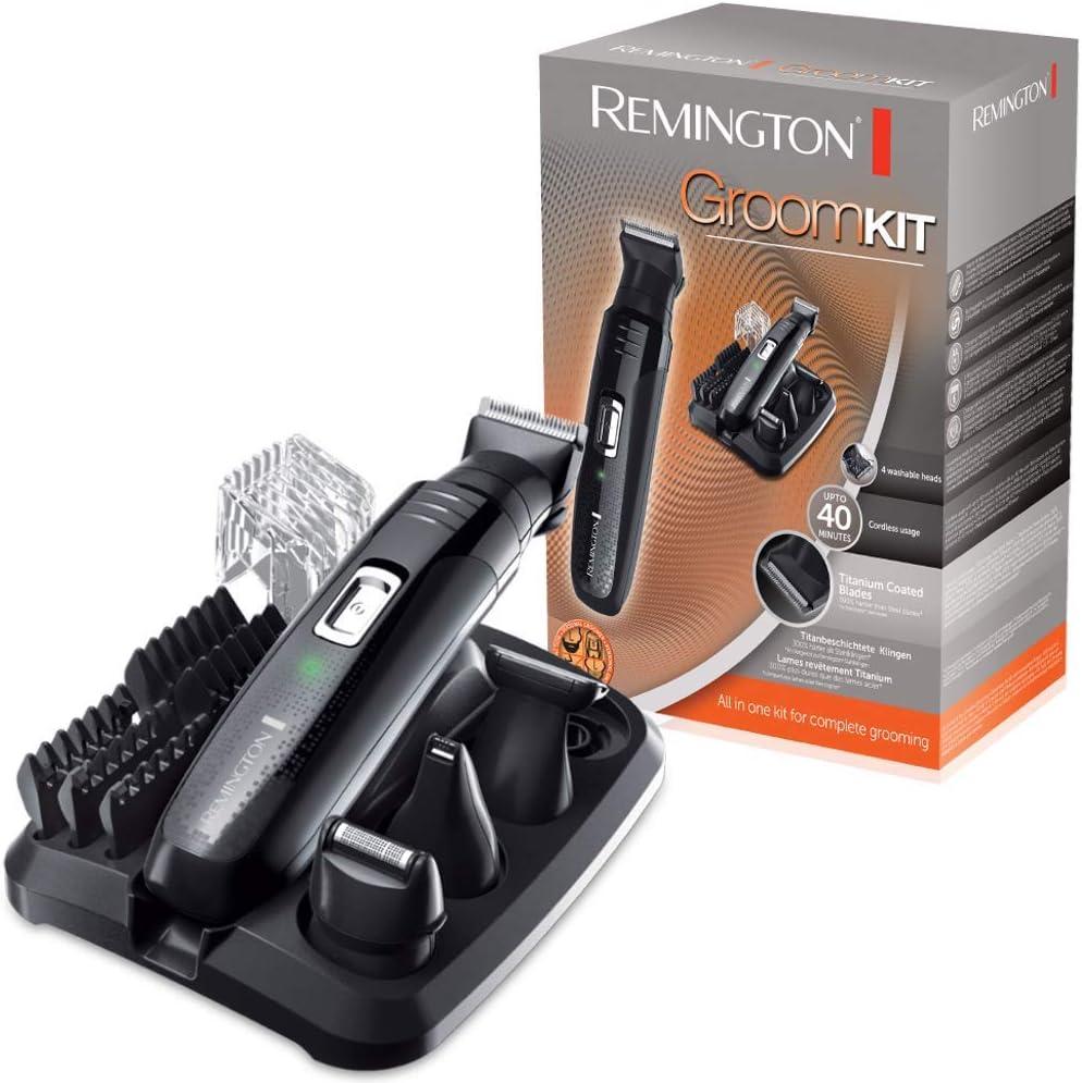 Remington PG6130 Groomkit - Recortador multifunción, cuchillas con revestimiento de titanio autoafilables, cuatro cabezales, inalámbrico, batería, negro