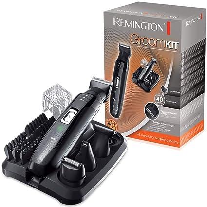 Remington PG6130 Groomkit - Kit multifunción para cortapelos corporal, cuchillas con revestimiento de titanio autoafilables, cuatro cabezales, ...