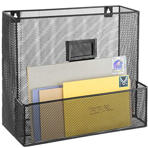 (Metal Wire Mesh Wall-Mounted Magazine, File Folder, Mail Rack with Chalkboard Label Holder)