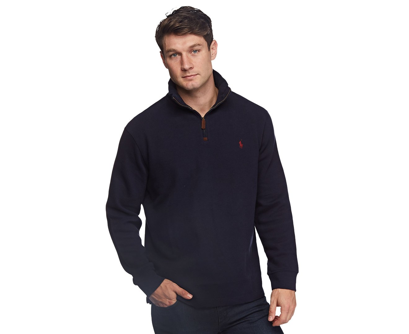Polo Ralph Lauren Mens Half Zip French Rib Cotton Sweater Large Hunter Navy