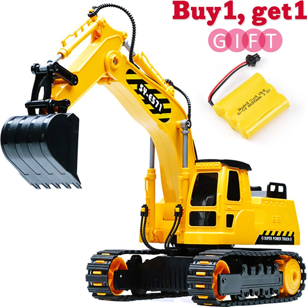 DOUBLE  E Remote Control Excavator Full Functional Construction Tractor, Rechargeable RC Truck Excavator with 2.4Ghz Transmitter by DOUBLE  E (Image #1)