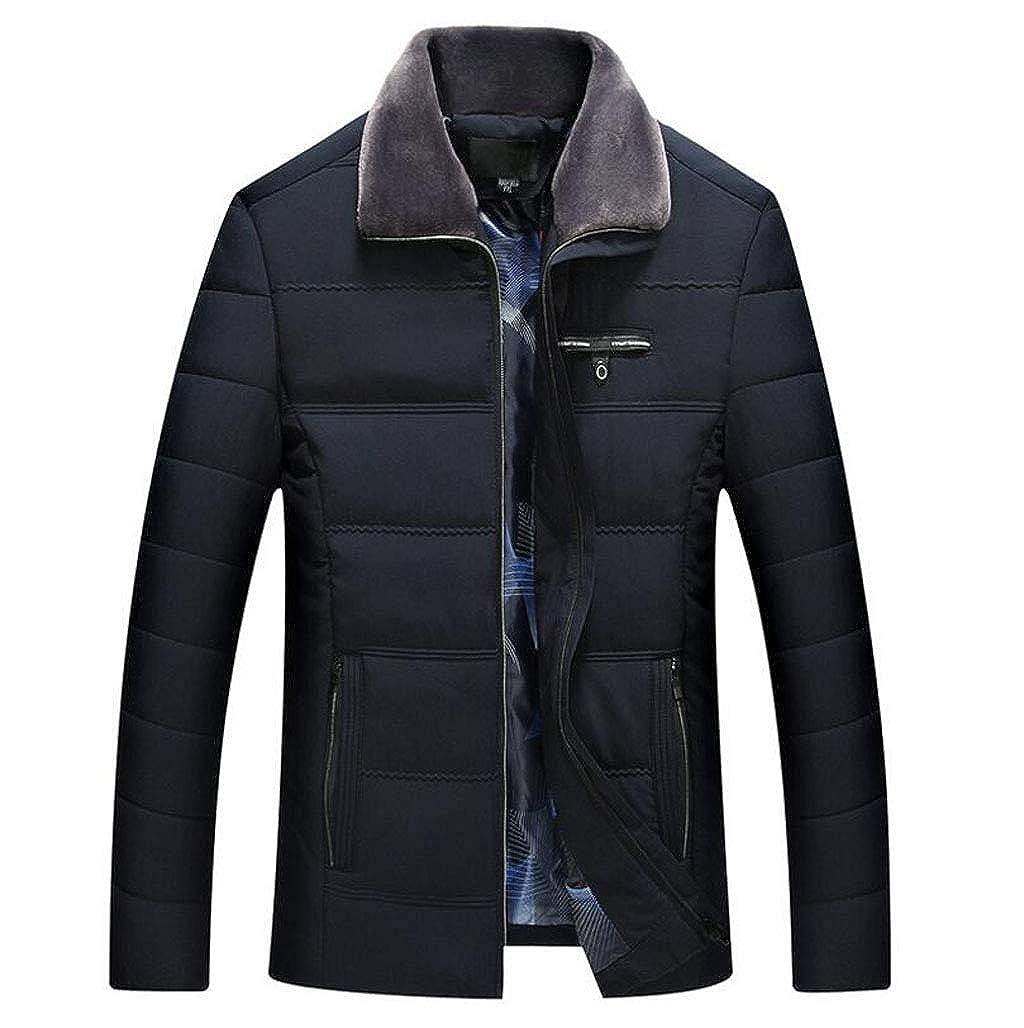Noir XL FGSJEJ Veste pour Homme - Veste Chaude pour Homme, Veste d'hiver légère, Veste imperméable, Manteau matelassé pour Homme d'Âge mûr