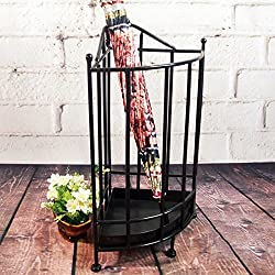 Umbrella Stands WSSF- European Iron Arts Black Vintage Triangle Umbrella Shelf With Drip Tray Household Multifunctional Hotels Hallway Umbrella Bucket Stand Storage Holder,232350cm