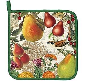 Michel Design Works GOLDEN PEAR Potholder - Flowers, Pears, Bird
