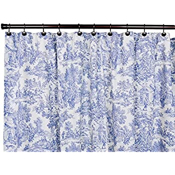 This Item Victoria Park Toile Bathroom Shower Curtain Blue