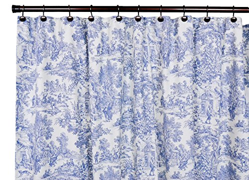 Victoria Park Toile Bathroom Shower Curtain, Blue