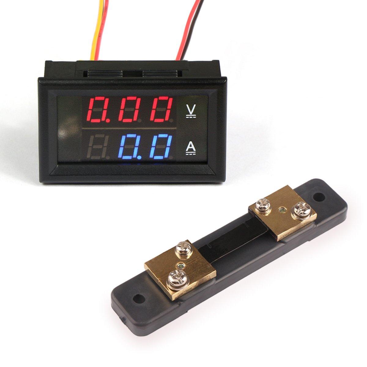 DROK Digital LED Current Voltage Measurement DC 0-100V/50A Ampere Volt Meter Red/Blue Dual Color 100045