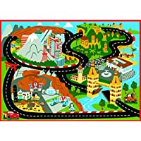 Gertmenian Disney Cars Rug Mt Fuji Edition Toys w/ Lightning McQueen Toy Car Kids Cars2 Bedding Game Rugs, 32x44