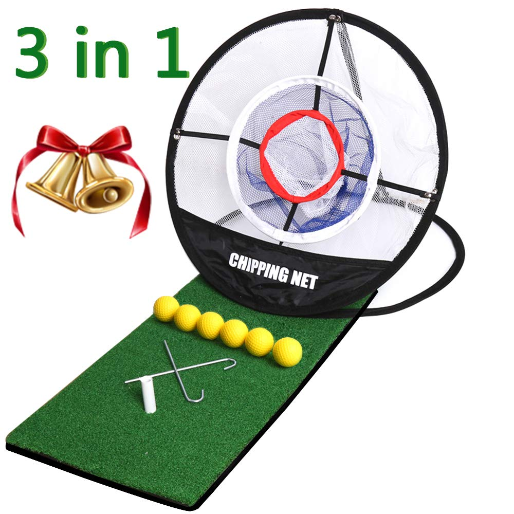 Golf Mat 12''x24''|Pop Up Golf Chipping Net|Realistic Fairway | Collapsible Golf Chipping Net,Portable Driving,Chipping,Golfing Target Accessories,Training Aids | Backyard & Indoor Practice Swing Game by KJ-KayJI