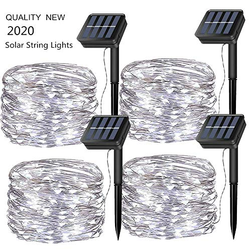 Chinety Solar Powered String Lights, Upgraded 4 Pack 100 LED Solar Fairy Starry Lights 33ft 8 Modes Copper Wire Lights…