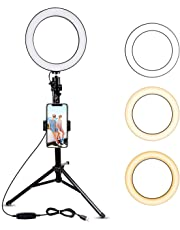 """8"""" Selfie Ring Light with Tripod Stand & Cell Phone Holder for Live Stream/Makeup, UBeesize Mini Led Camera Ringlight for YouTube Video/Photography Compatible with iPhone Xs Max XR 8 7 Plus X Android"""