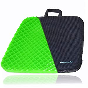 HANCHUAN Gel Seat Cushion Extra Firm & Large Pad with Cooling Gel Honeycomb Egg Crate Design Sitter Fits Most Seat for Cars, Outdoors, Stadium, Truck, Van, Office (Standard, Green)