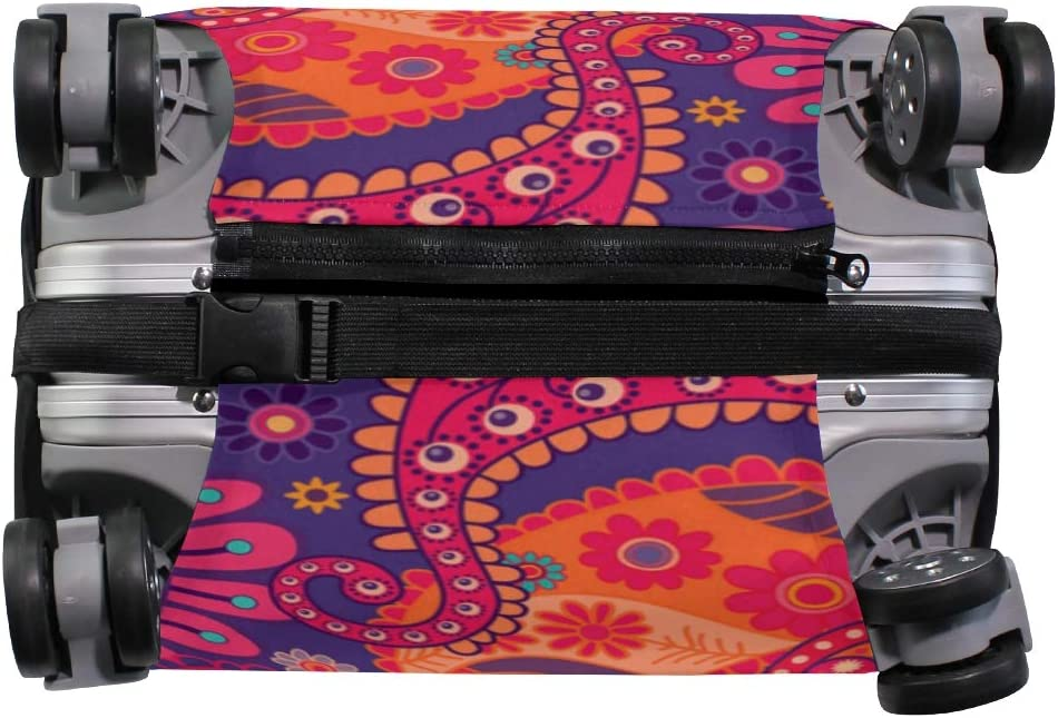 FOLPPLY Paisley Floral Colorful Ethnic Print Luggage Cover Baggage Suitcase Travel Protector Fit for 18-32 Inch