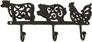 DeLeon Collections Rustic Brown Cast Iron Pig Rooster Cow Triple Wall Hook Rack Farmhouse Decor