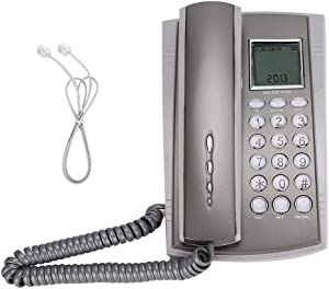 Corded Telephone, Wired Telephone CKX-071 Wall Mount Desktop Landline Telephone with Caller ID Mute Home Office Hotel Call Center Gray