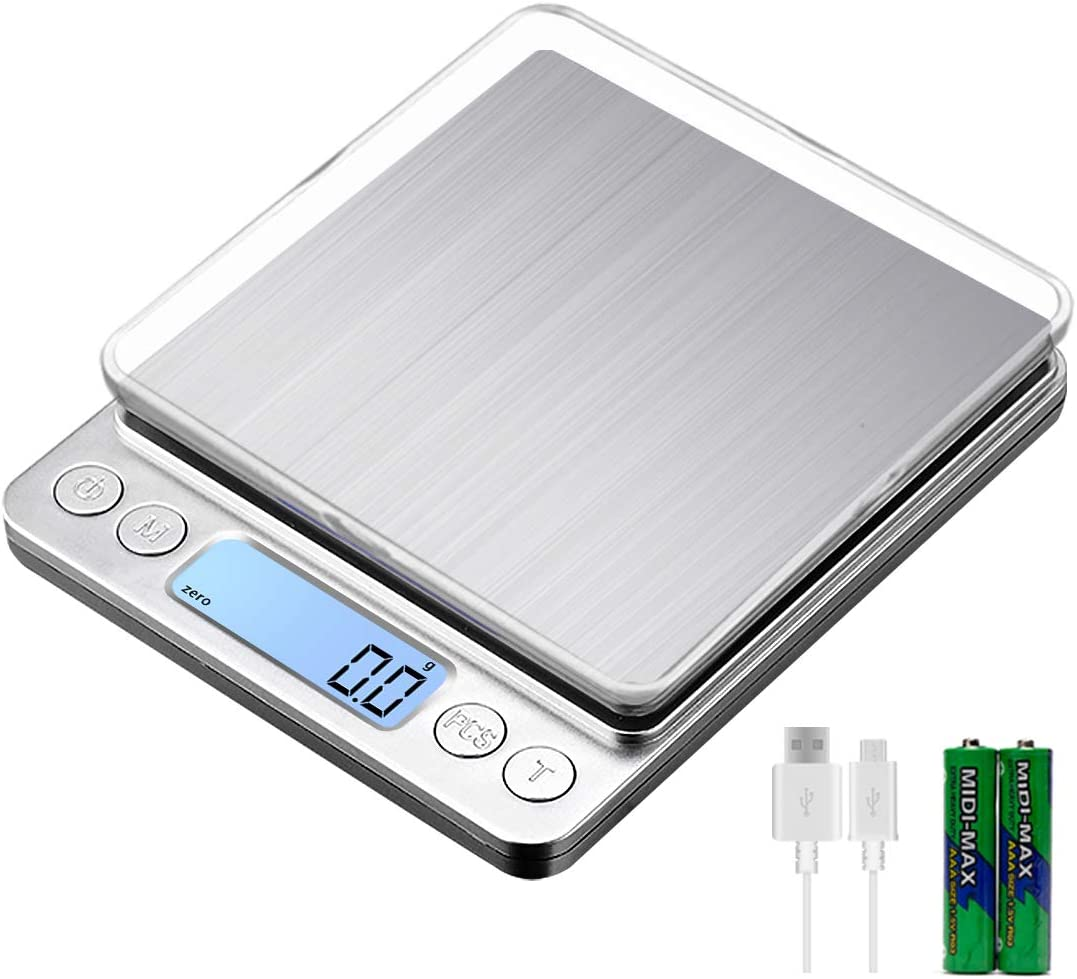 KUBEI Upgraded USB Charging Small Kitchen Scale, 3kg/0.1g Mini Food Electronic Scale, High Accuracy Cooking Scale, Pocket Scale for LCD Display