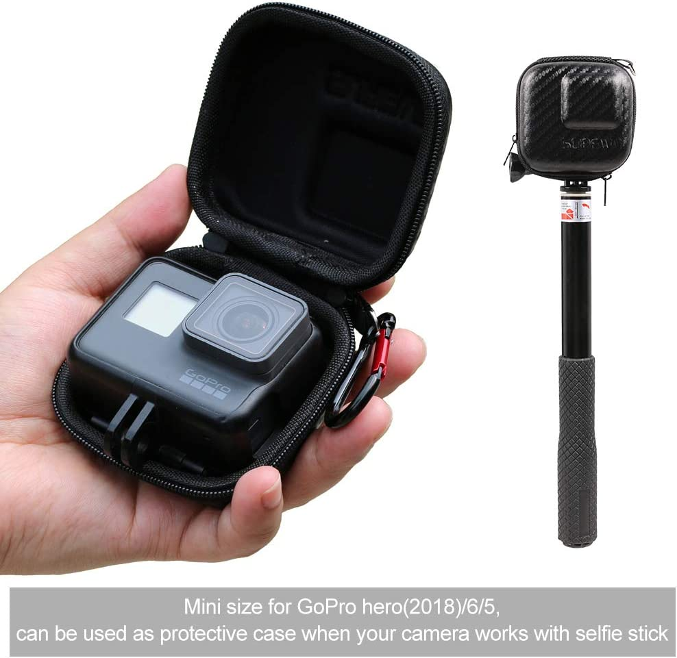 2018 SUREWO Mini Travel Carrying Case for GoPro Hero 8//7// //6//5//4 Black,Session 5//4,Hero 3+,GoPro Hard Shell Mini Protective Storage Bag for DJI Osmo Action,AKASO,Campark,YI Action Camera and More